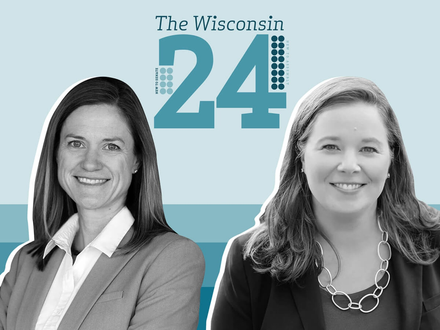 Incoming Democratic members of the Assembly Deb Andraca of Whitefish Bay and Sara Rodriguez of Brookfield. (Graphic illustration by Morgaine Ford-Workman)