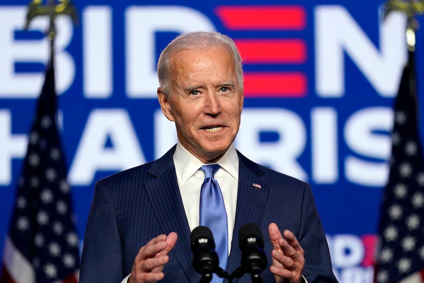 President Joe Biden speaks Friday, Nov. 6, 2020, in Wilmington, Del. (AP Photo/Carolyn Kaster)
