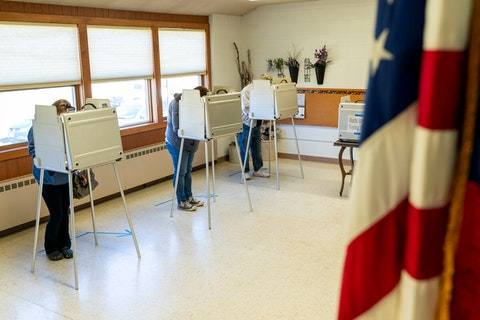 Voters cast their ballots last November at the Zwingli United Church of Christ in the Dane County community of Paoli. (Photo by Andy Manis/Getty Images)