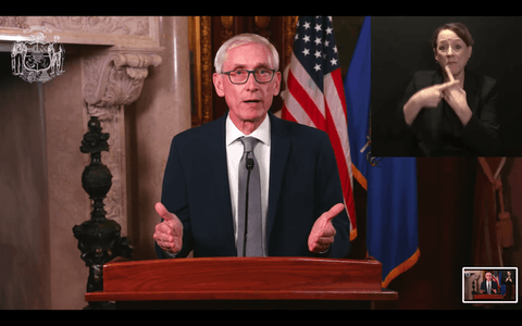 Gov. Tony Evers calls for unity and working together during a streamed address Nov. 10. (Screenshot)