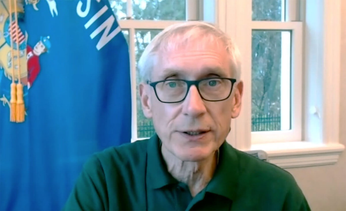 Gov. Tony Evers speaks Nov. 10 at a virtual panel supporting the Affordable Care Act. Evers, a cancer survivor, went to bat for the healthcare reform law as the US Supreme Court considered a Trump-backed lawsuit that would invalidate the law in its entirety. (Screenshot)