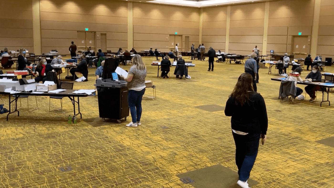 Green Bay's central count facility for absentee ballots at the KI Convention Center on Nov. 3, 2020.