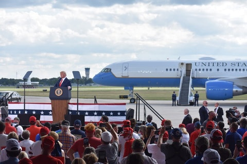 President Donald Trump delivers remarks during a campaign rally at Wittman Regional Airport's Basler Flight Service Hangar in Oshkosh on August 17, 2020. (Photo by Kyle Mazza/Anadolu Agency via Getty Images)
