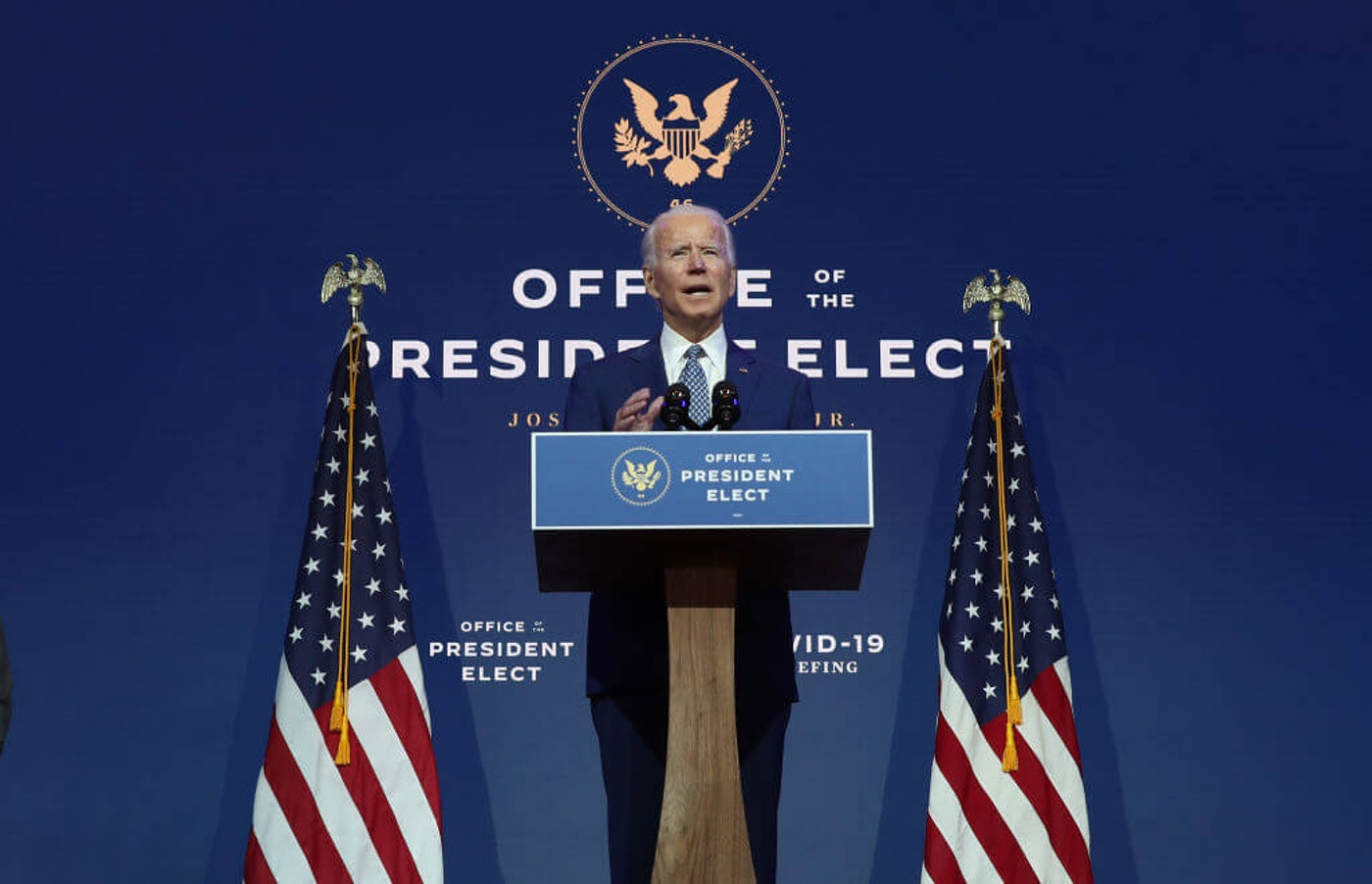 President Joe Biden speaks to the media after receiving a briefing from the transition COVID-19 advisory board on Nov. 9 at the Queen Theater in Wilmington, Delaware. Biden spoke about how his administration would respond to the coronavirus pandemic. (Photo by Joe Raedle/Getty Images)