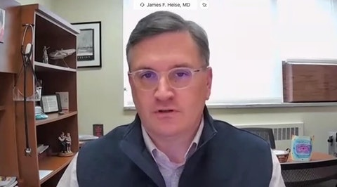 Dr. James Heise, chief medical officer at Door County Medical Center, is seen in a virtual press event sponsored by the Brown County Health Department Wednesday. (Screenshot)
