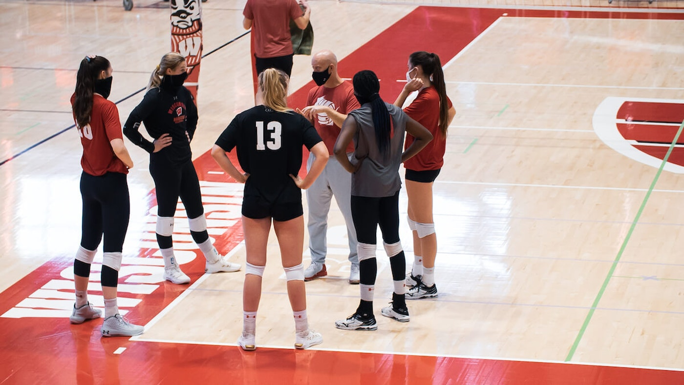 The Badgers volleyball team's season was delayed until an early 2021 start, and the team has been practicing. With availability on Election Day for a change, the Badgers will be working at local polls instead. (Photo by UW Athletics)