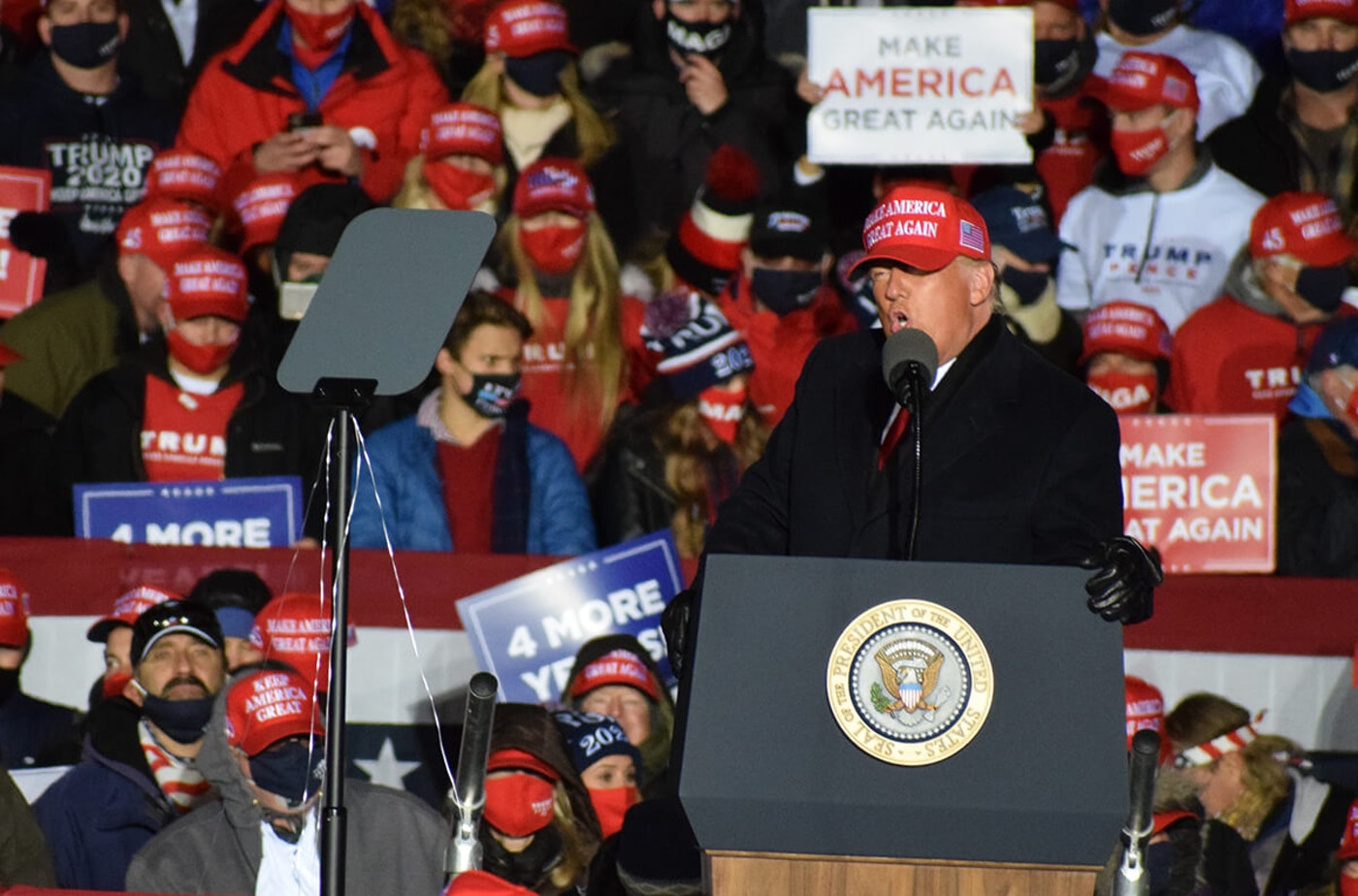 President Donald Trump speaks in Kenosha Nov. 2, less than 12 hours before polls were set to open in Wisconsin for the presidential election. He lost his bid for re-election, yet two lawsuits have been filed, challenging Wisconsin's election results. (Photo by Jonathon Sadowski)