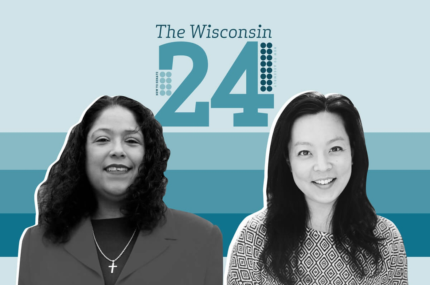 Representative-elect Sylvia Ortiz-Velez (D-Milwaukee) and Representative-elect Francesca Hong (D-Madison) are among the 16 new members of the state Assembly. (Graphic illustration by Morgaine Ford-Workman)