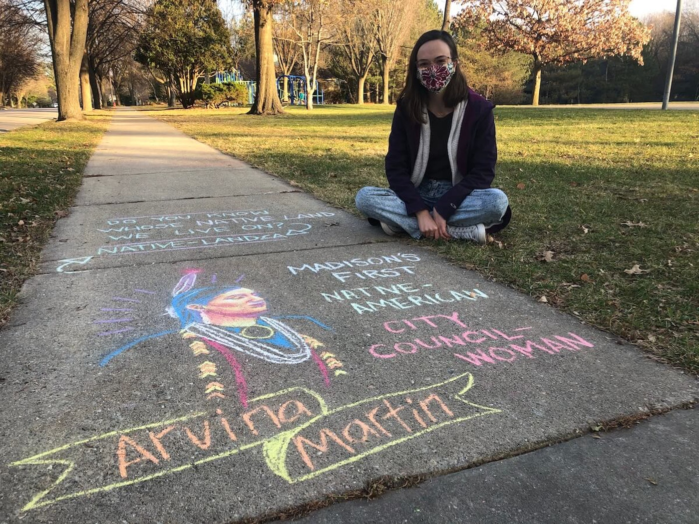 For the past four months, 25-year-old Veronica Lourich has been chalking the images of groundbreaking individuals on the sidewalk near her Madison home. (Photo by Jessica VanEgeren)