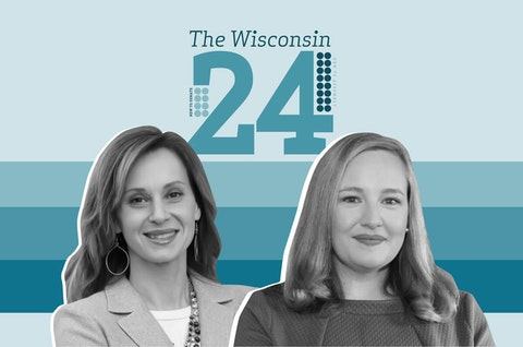 Rep.-elect Kristina Shelton (D-Green Bay) and Sen.-elect Kelda Roys (D-Madison). (Graphic illustration by Morgaine Ford-Workman)