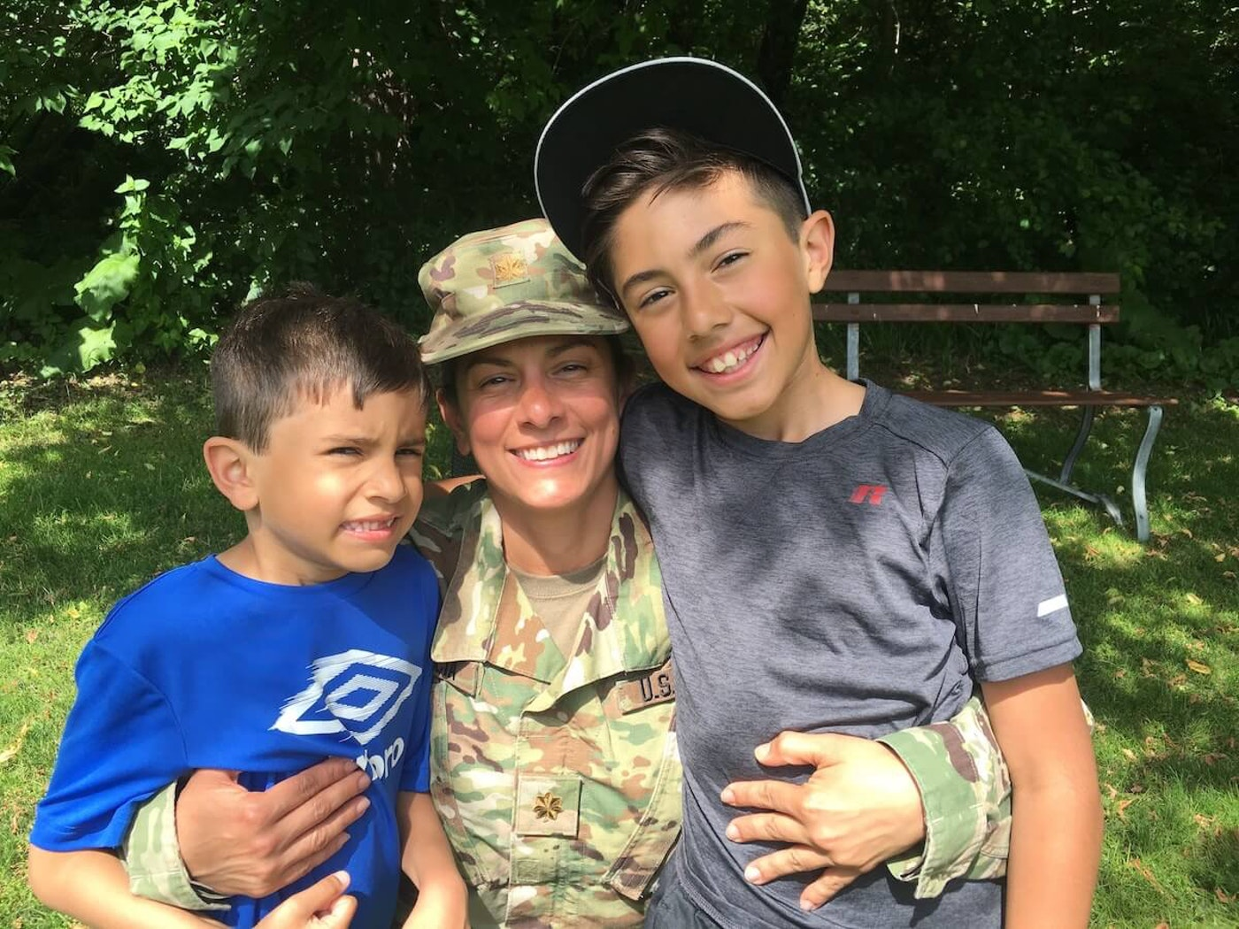 Major Maria Garcia with the Wisconsin National Guard is pictured with her sons Kobe (left) and Tyce.