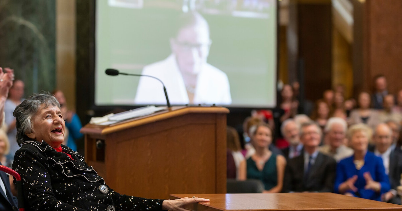 Wisconsin Supreme Court Justice Shirley Abrahamson reacts to a video tribute from recently deceased U.S. Supreme Court Justice Ruth Bader Ginsburg during a celebration to honor Abrahamson on her retirement form the court on June 18, 2019. (Photo © Andy Manis)