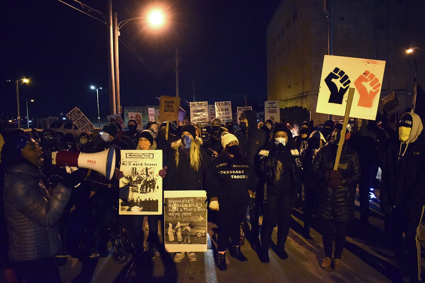 The Peoples Revolution, a Milwaukee protest group, on Monday evening begins its 200th consecutive day of marching after the murder of George Floyd by Minneapolis police. (Photo by Jonathon Sadowski)