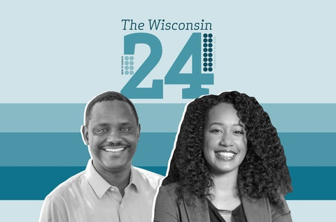 Rep.-elect Samba Baldeh (D-Madison) and Rep.-elect Dora Drake (D-Milwaukee) are among the 24 new lawmakers in the Wisconsin Legislature. (Graphic illustration by Morgaine Ford-Workman)