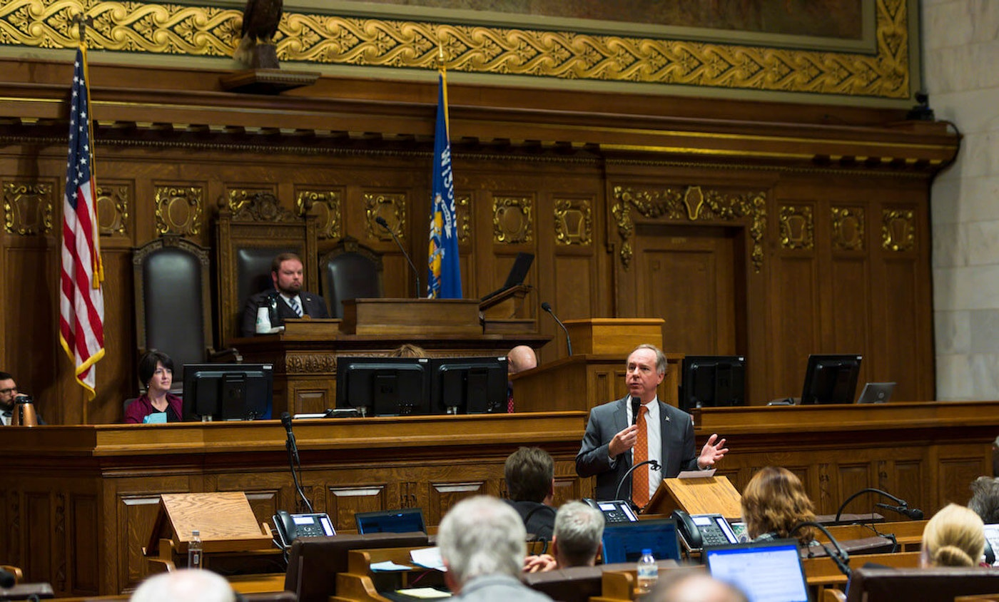 Wisconsin Assembly Speaker Robin Vos (R-Burlington) addresses colleagues on December 4, 2018 at the state Capitol in Madison.