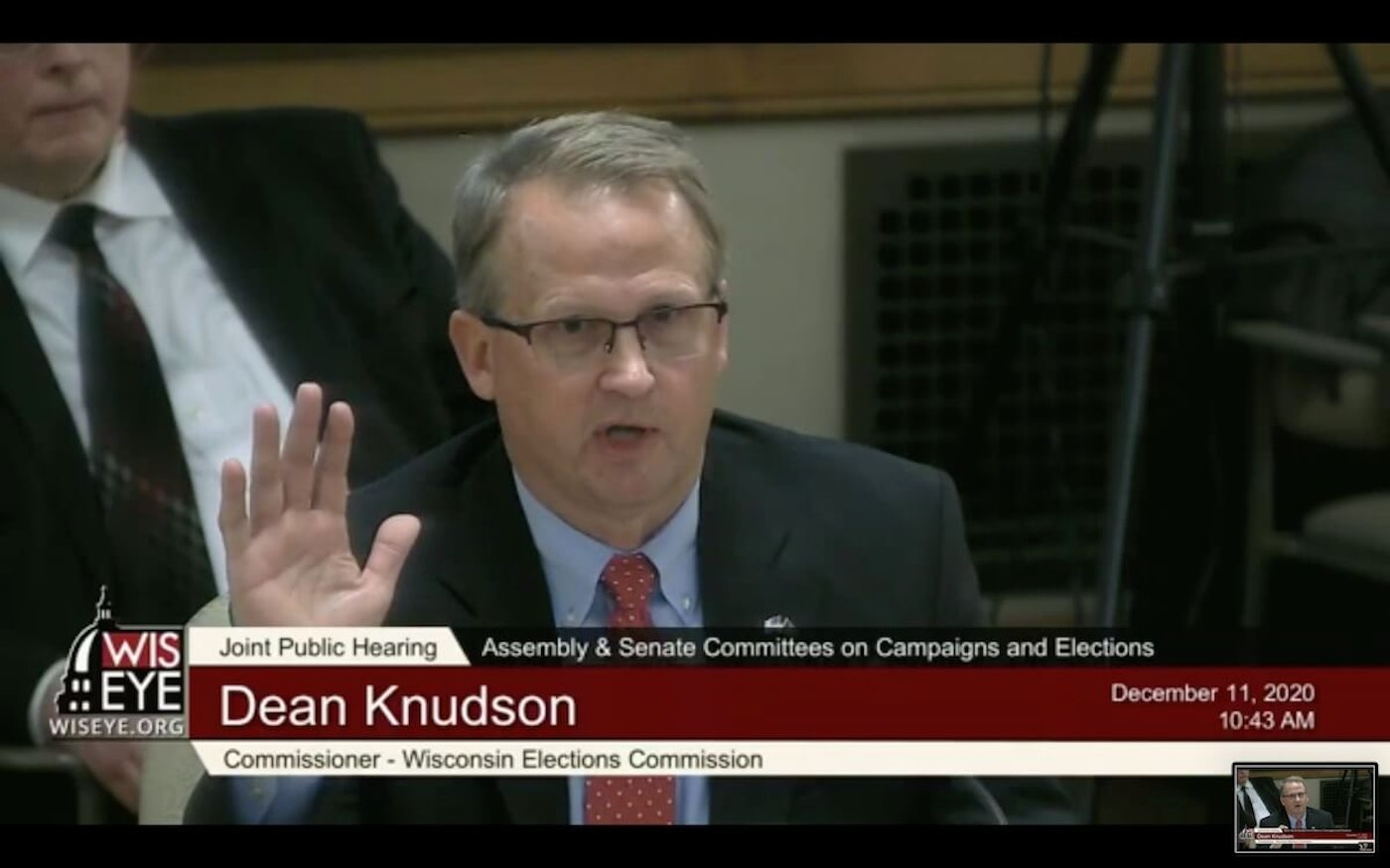 """Wisconsin Elections Commissioner, Republican Dean Knudson, told the Joint Committee on Campaigns and Elections that there was """"no credible evidence voter fraud occurred.""""  (Screenshot)"""