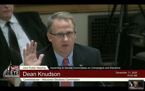 "Wisconsin Elections Commissioner, Republican Dean Knudson, told the Joint Committee on Campaigns and Elections that there was ""no credible evidence voter fraud occurred.""  (Screenshot)"