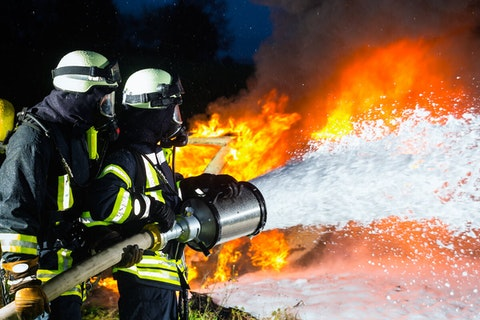 "Firefighting foam is invaluable for extinguishing blazes, but it also contains per- and polyfluoroalkyl substances (PFAS), a group of man-made chemicals also found in other products. PFAS are known as ""forever chemicals"" because they do not easily break down in nature and become contaminants or health hazards. (Shutterstock image)"
