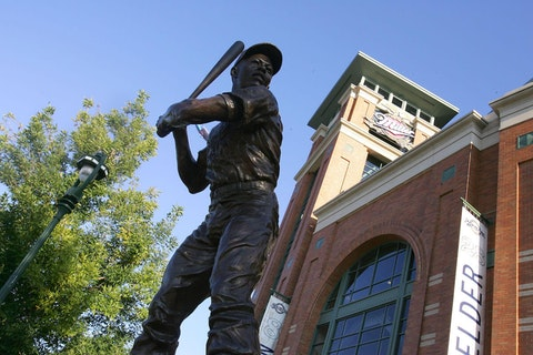 Immortalized in this statue in Milwaukee, baseball legend Hank Aaron played with the Milwaukee Braves from 1954-1965, the relocated Atlanta Braves until 1974, and the Milwaukee Brewers in 1975 and 1976. After a stint in the Negro League, Aaron's first minor league experience came with the Braves' Eau Claire squad in 1952. Aaron broke Babe Ruth's home run record in 1974. Aaron died Friday at the age of 86. (Photo by Jim McIsaac/Getty Images)