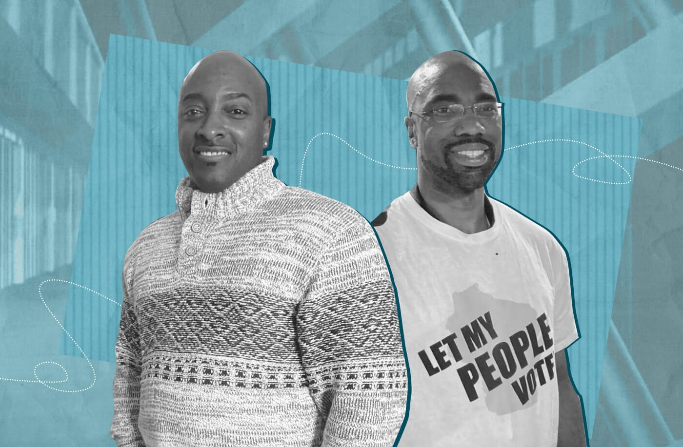 Garland Hampton, left, and Dominee Meek spent more than 25 years behind bars serving live prison sentences they received at age 15. They were released on parole, but thanks to a state law change, teens receiving the same sentence just a few years later would not have been eligible for a parole. Meek and Hampton are advocating for other teens to have the same shot at redemption. (Graphic by Morgaine Ford-Workman)