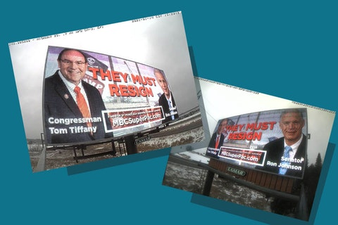Billboards targeting Sen. Ron Johnson and US Rep. Tom Tiffany for their rhetoric casting baseless doubts on the integrity of the Nov. 2020 presidential election have gone up on Hwy. 29 near Wausau and Hwy. 51 near Tomahawk. (Photos supplied by MBC SuperPac.)