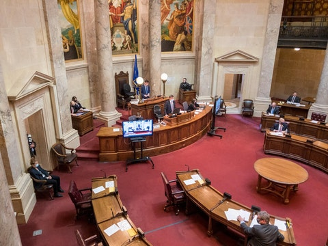State Senate chambers at the Wisconsin state Capitol in Madison. (Photo by Christina Lieffring)