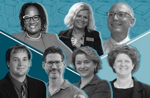The candidates running for Wisconsin state superintendent are, clockwise from top left, Shandowlyon Hendricks-Williams, Deborah Kerr, Troy Gunderson, Jill Underly, Sheila Briggs, Steve Krull, and Joe Fenrick.