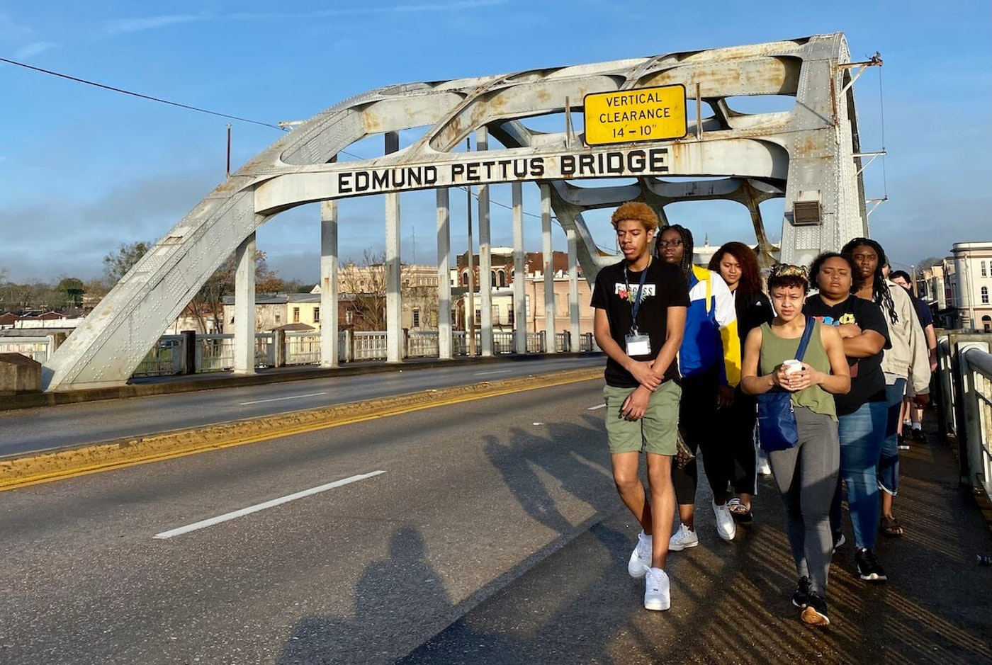 Students taking part in the UW-Eau Claire Civil Rights Pilgrimage cross the Edmund Pettus Bridge in Selma, Alabama in January 2020. (Photo courtesy of Jodi Thesing-Ritter)