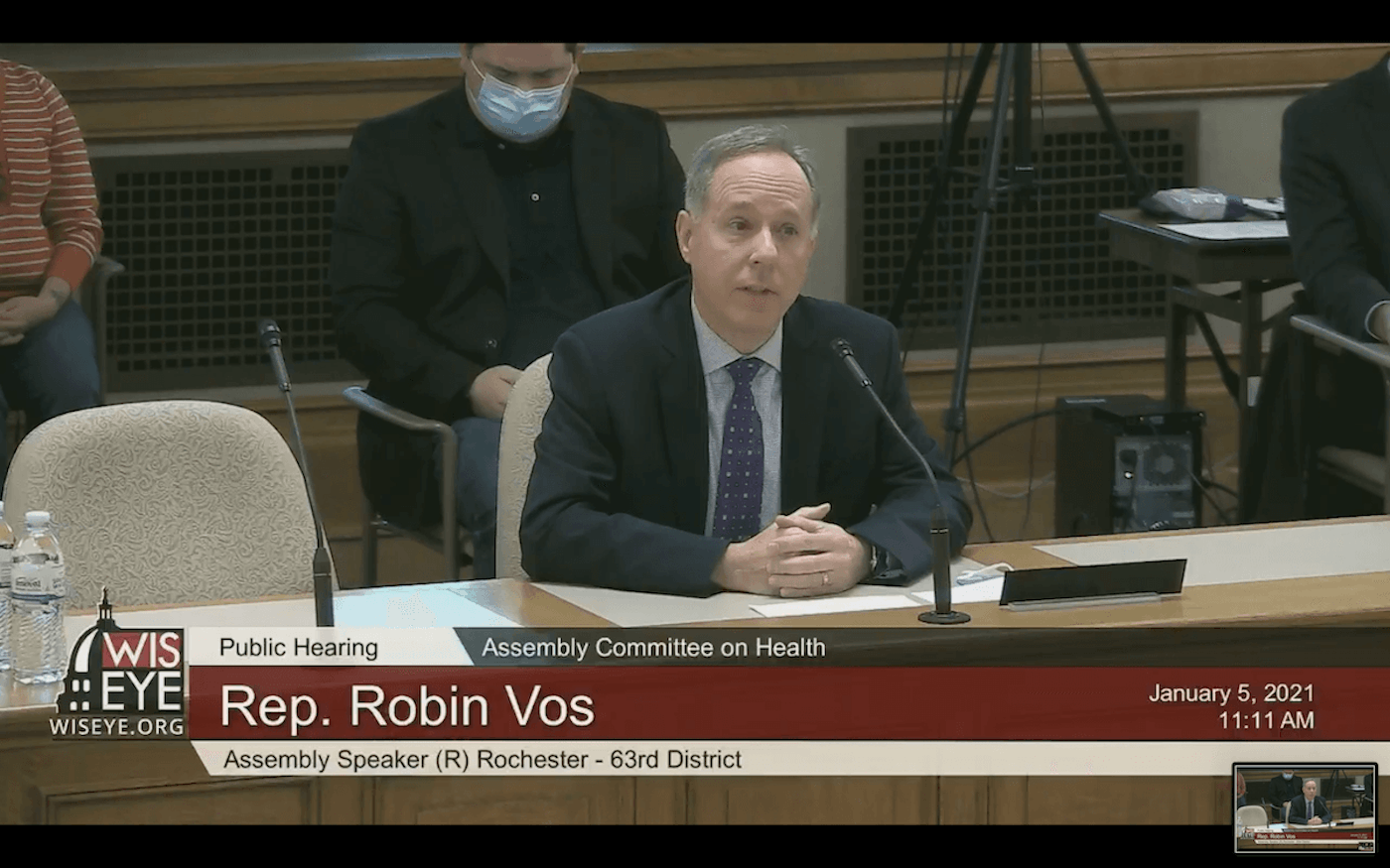 Assembly Speaker Robin Vos (R-Rochester) testifies Tuesday before the Assembly Health Committee on a COVID bill he and other Republican leaders introduced Monday. (Screenshot)