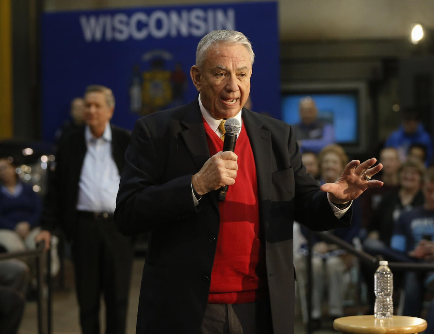 FILE- University of Wisconsin System President and former Gov. Tommy Thompson addresses a crowd at a March 28, 2016, campaign event for then-Ohio Gov. John Kasich, who was running in the Republican presidential primary, at the River Steel plant in West Salem. (AP Photo/Charles Rex Arbogast)