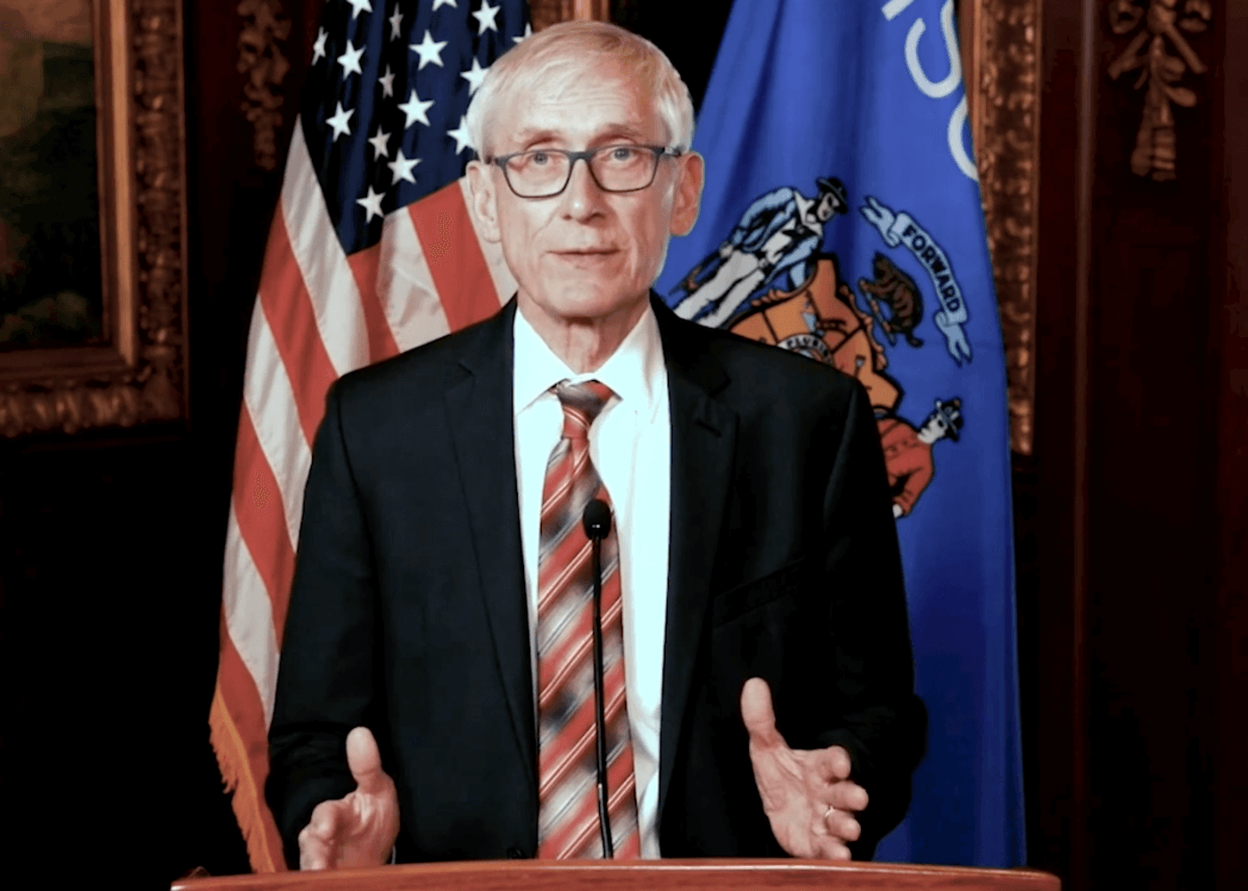 In a video released by the governor's office, Gov. Tony Evers responds to the Legislature's effort to kill his most recent statewide face mask safeguard by issuing a new one.