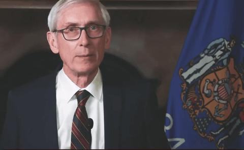 Gov. Tony Evers delivered his budget address Tuesday night from the Capitol in Madison. (Screenshot via WisEye.)