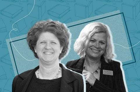 Jill Underly and Deb Kerr face off in the April 6 election for state school superintendent. (Graphic illustration by Morgaine Ford-Workman)