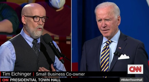 Tim Eichinger speaks to President Joe Biden