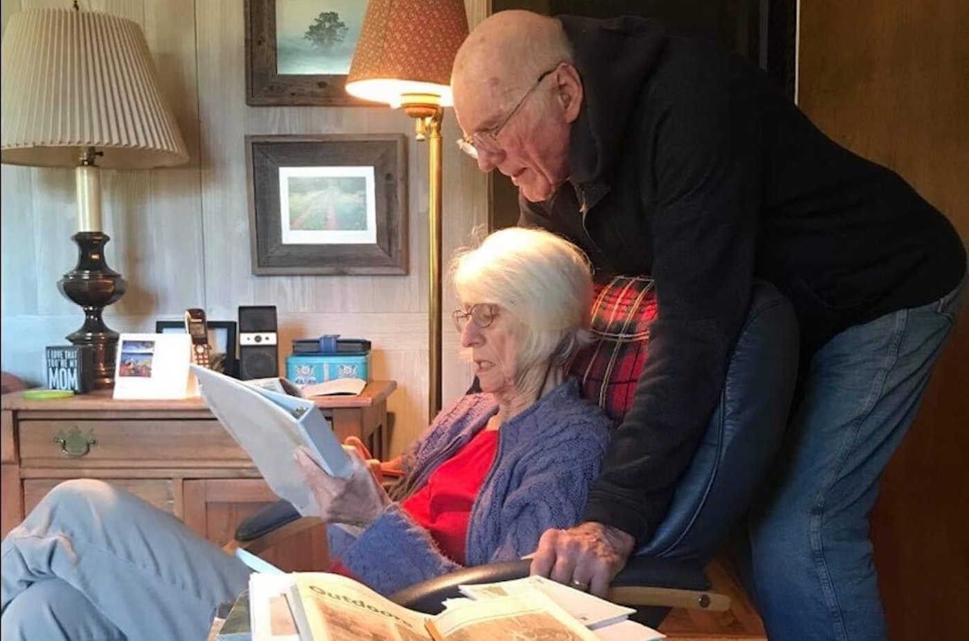 William Cerny and his wife, JoAnne, read together, one of many activities they enjoyed doing as a couple. William was extremely fit and energetic for his age, but he died Oct. 21, 2020, at age 89, just five days after contracting COVID-19. JoAnne tested positive as well but never exhibited symptoms of the illness. (Photo courtesy of Steve Cerny)