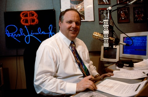 Rush Limbaugh in his studio during his radio show (Photo by mark peterson/Corbis via Getty Images)