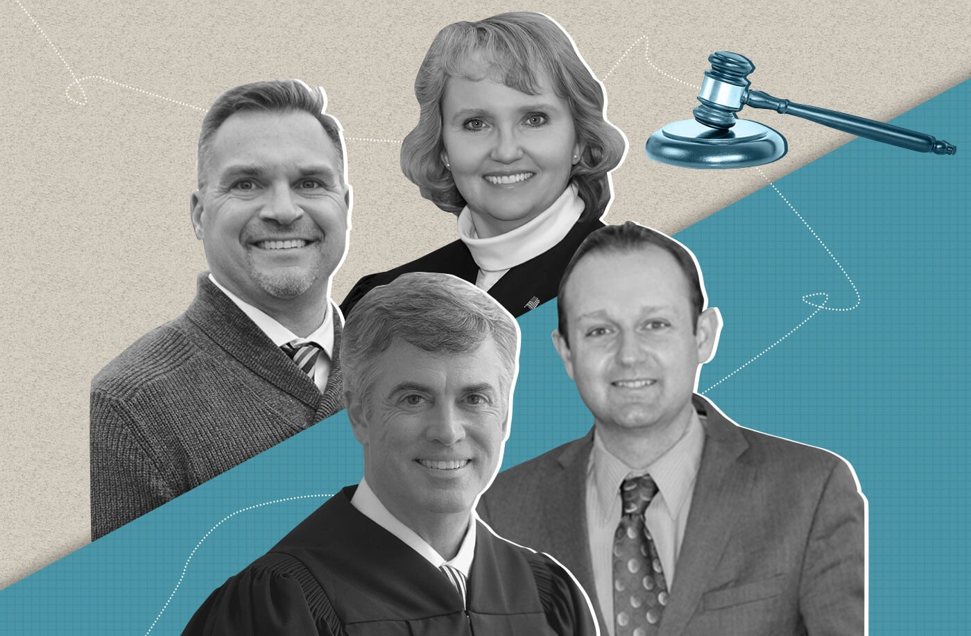 Clockwise, from top: Shelley Grogan, Rick Cveykus, Jeff Davis, and Greg Gill are running for Appeals Court seats. Gill and Cveykus are running for a judgeship in District 3, while Grogan and Davis are running for a seat in District 2. Republican groups and donors have given heavy backing to Gill and Grogan, despite the position's nonpartisan nature. (Graphic by Morgaine Ford-Workman)