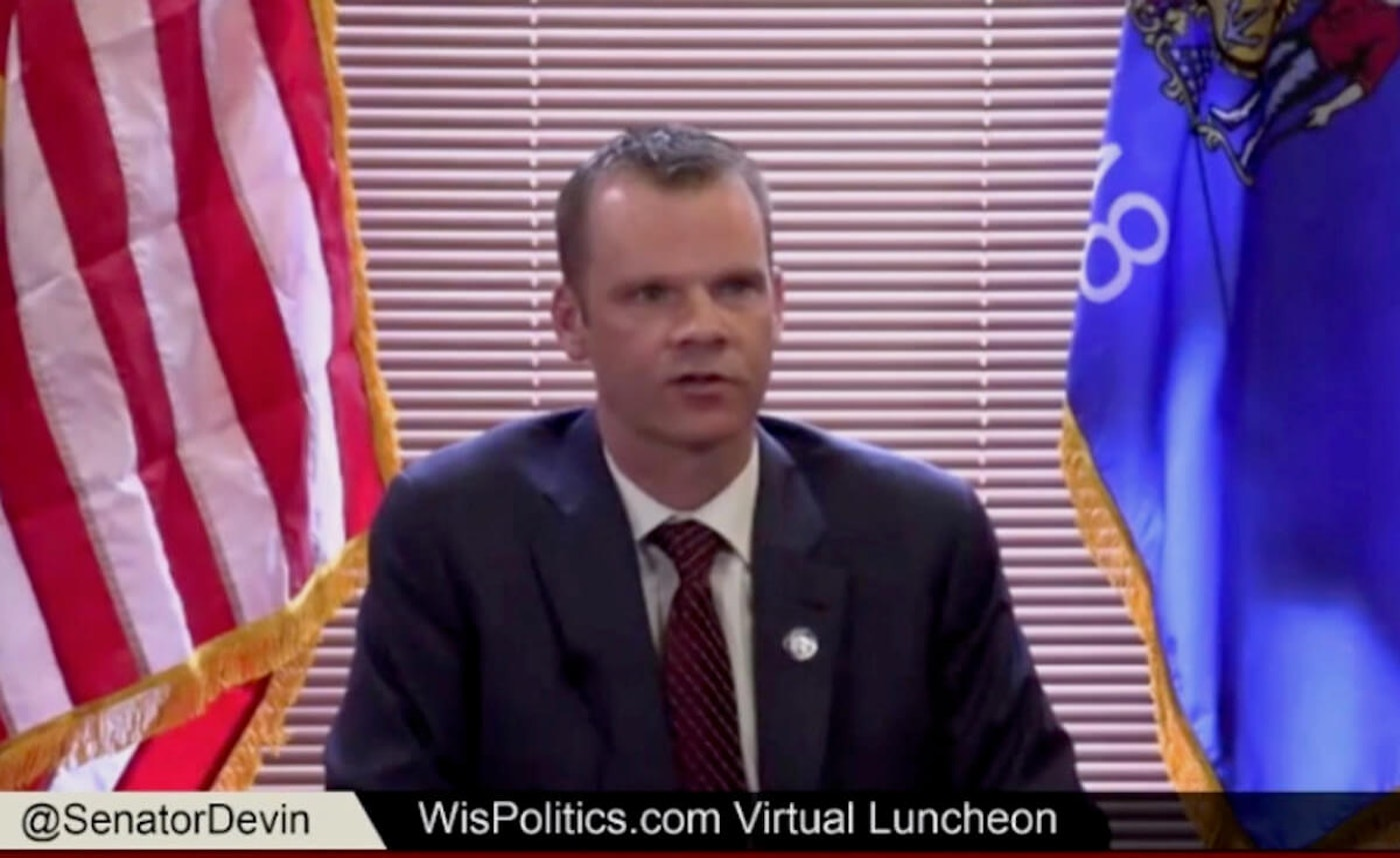 In this screen image via WisconsinEye, Sen. Devin LaMahieu (R-Oostburg), the state Senate Majority Leader, addresses a virtual luncheon sponsored by WisPolitics.