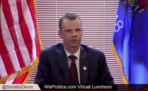 In this screen image via WisconsinEye, Sen. Devin LaMahieu (R-Oostburg), the state Senate Majority Leader, addresses a virtual luncheon sponsored by WisPolitics.
