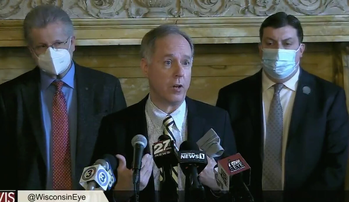 Assembly Speaker Robin Vos (R-Rochester) holds a press conference on April 13 where he demands Gov. Tony Evers accept severe restrictions on local health officials, schools, and the governor himself in exchange for tens of millions of dollars in federal supplemental COVID food aid. (Image via Wisconsin Eye.)