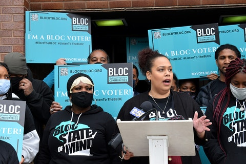 Angela Lang, executive director of Black Leaders Organizing for Communities, speaks in opposition to police reform proposals made by the Assembly Speaker's Task Force on Racial Disparities. (Photo by Jonathon Sadowski)