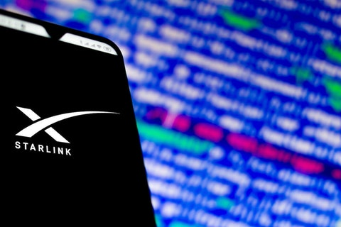 Starlink logo on cell phone