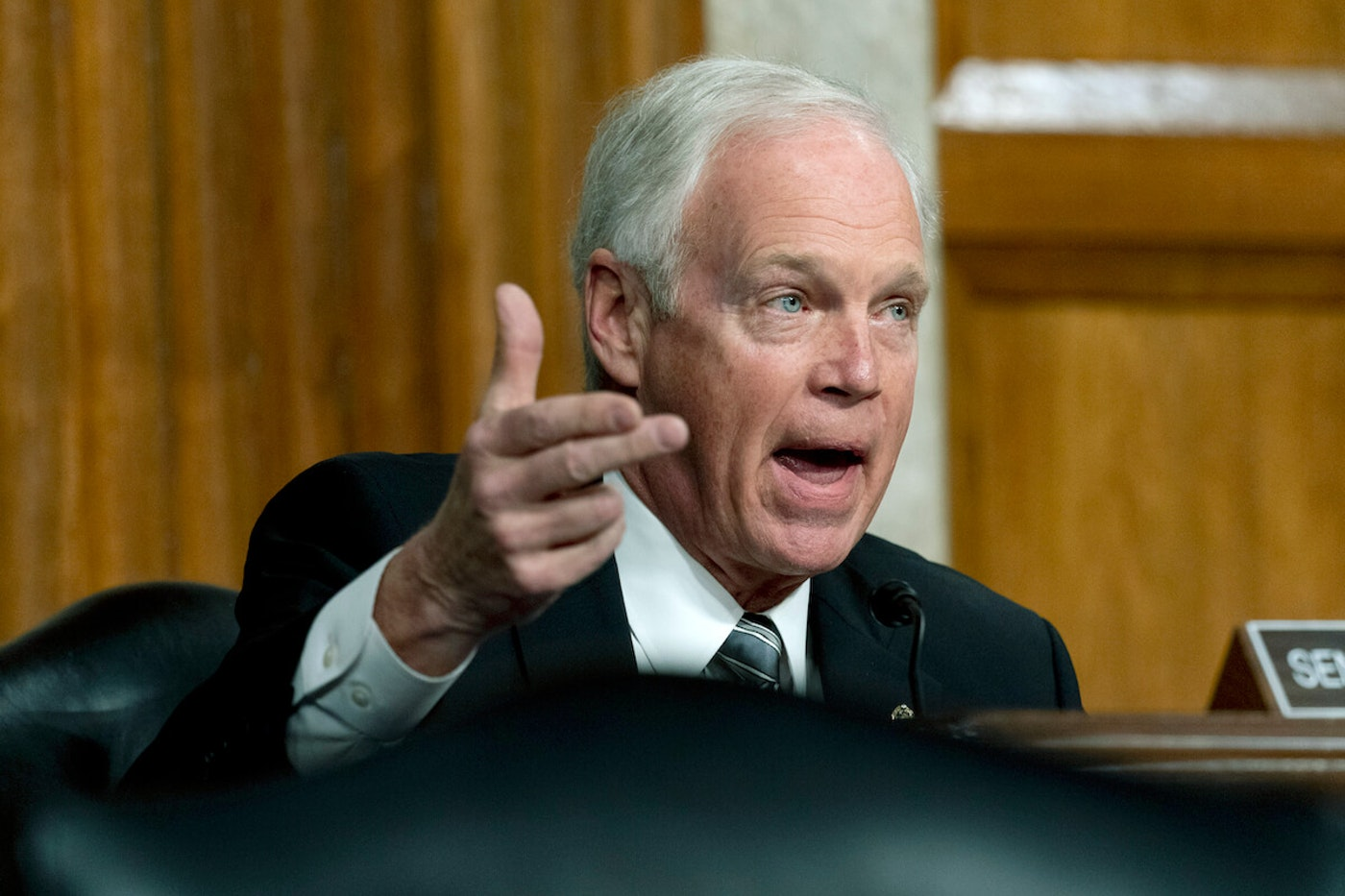 Sen. Ron Johnson, R-Wisc., speaks at a Senate Homeland Security and Governmental Affairs hearing on Feb. 23, 2021. (AP Photo/Andrew Harnik, Pool)