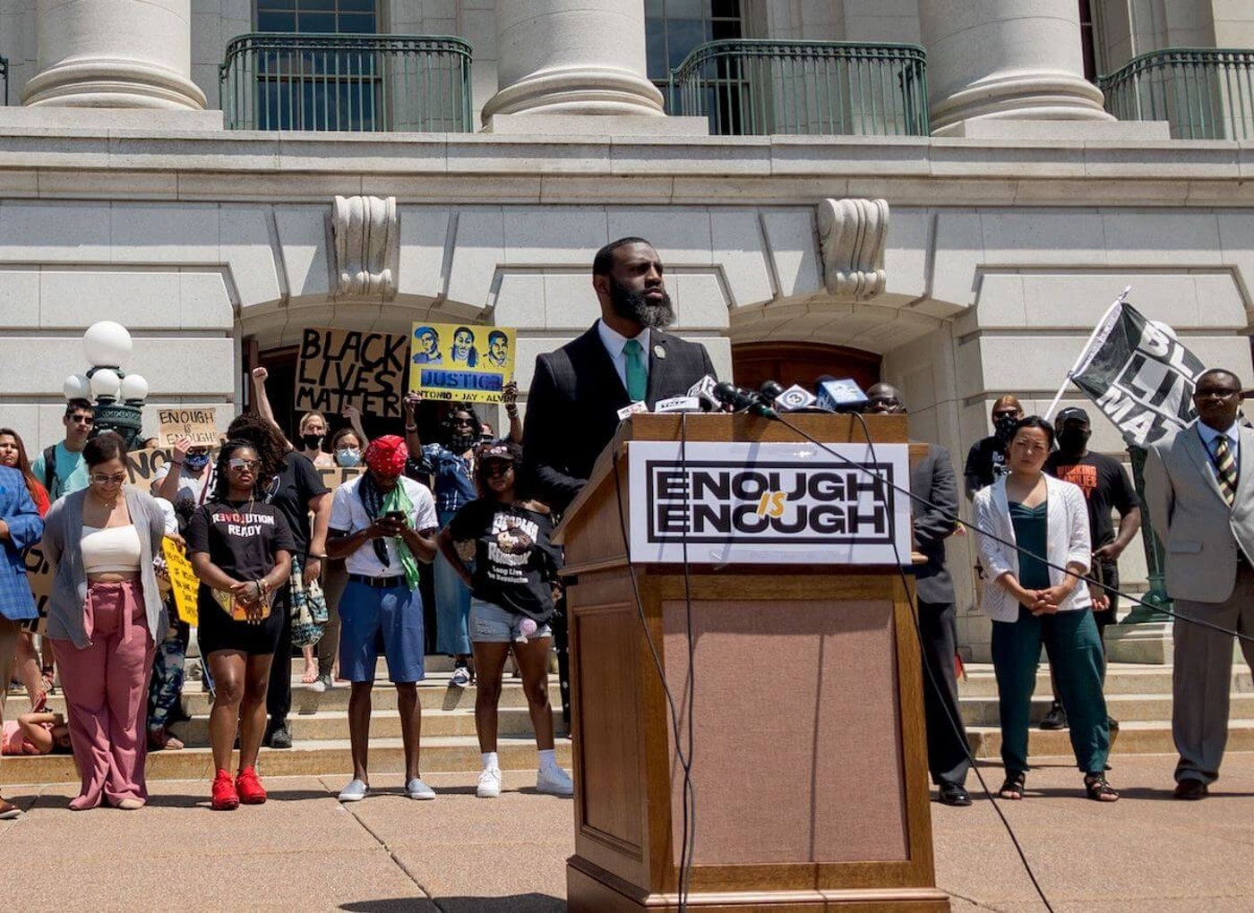 Rep. David Bowen (D-Milwaukee) speaks Thursday about a 12-bill package of police reforms that go farther than bipartisan proposals currently being deliberated in the Legislature. (Photo by Christina Lieffring)
