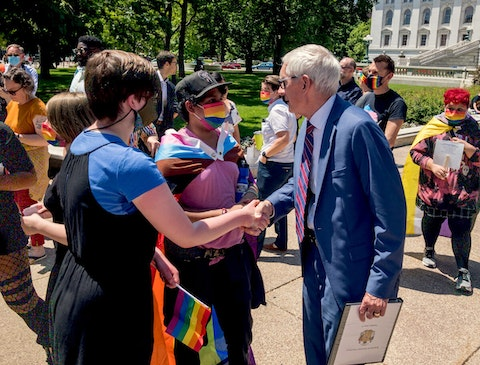 Tony Evers meeting with LGBTQ youth