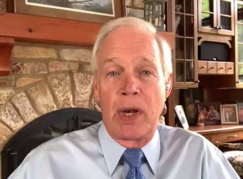 Sen. Ron Johnson (R-Wisconsin) speaks during a June 3 virtual luncheon hosted by Milwaukee Press Club and WisPolitics.