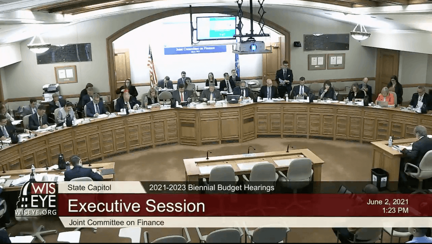The Legislature's budget-writing committee meets Wednesday for a session during which Republicans on the panel cut funding for lead-pipe removal, workforce development, and upgrades to the state's outdated unemployment system. (Screenshot via WisEye)