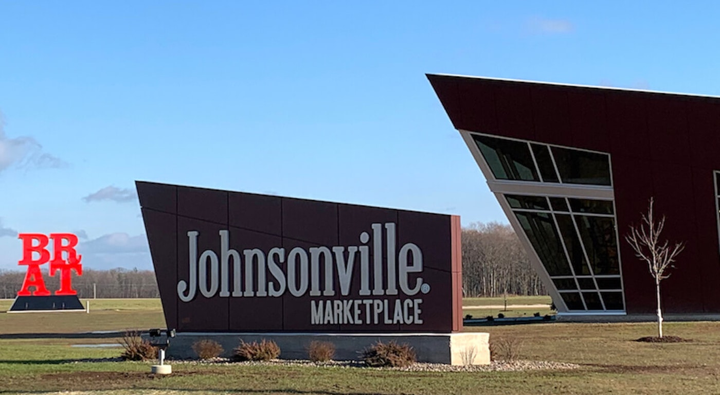 Johnsonville Marketplace opened near the Johnsonville sausage factory in late 2020. Visitors can buy T-shirts, all sorts of cookout materials from condiments to grills, and exclusive Potosi Brewing Co. beer. (Photo by Mary Bergin)