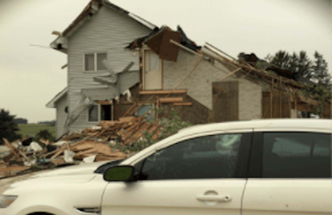 A tornado near New Richmond completely destroyed a garage and caused some other damage Wednesday night. (Photo via National Weather Service)