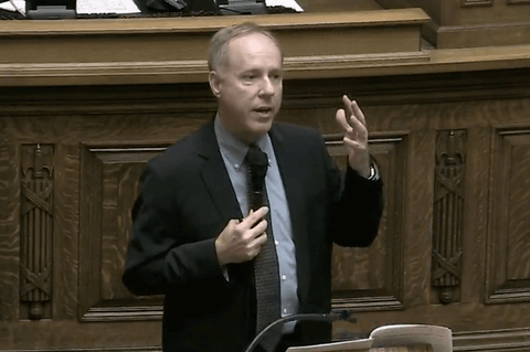Assembly Speaker Robin Vos (R-Rochester) described his own employee as being stuck in the state's BadgerCare coverage gap, despite his denial that it exists. (Screenshot via WisconsinEye)